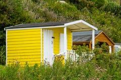 Beautiful Bathing houses on the British beach in Scotland, UK Stock Image