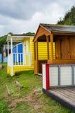 Beautiful Bathing houses on the British beach in Scotland, UK Stock Images