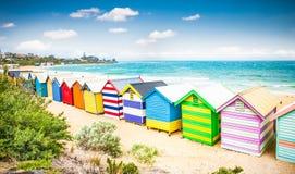 Beautiful Bathing houses on white sandy beach at Brighton beach, Melbourne, Australia. stock photo