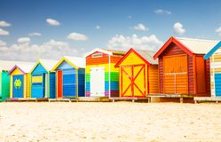 Bathing houses at Brighton beach in Melbourne, Australia. Beautiful Bathing houses on white sandy beach at Brighton in Melbourne, Australia Royalty Free Stock Photo