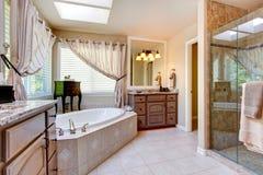 Beautiful bathroom interior in light mauve tone Stock Photo