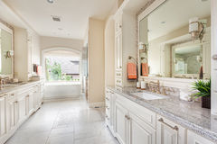 Beautiful bathroom in new home with dual sinks Stock Image