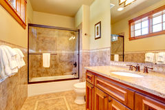 Beautiful bathroom with tile wall trim Royalty Free Stock Images
