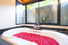 Beautiful bathtub with red rose petals Royalty Free Stock Photos