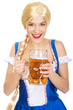 Beautiful bavarian woman with beer. Stock Photo