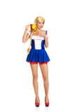 Beautiful bavarian woman with beer. Stock Images