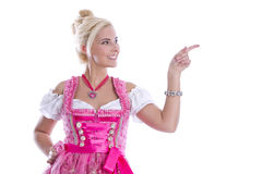 Beautiful bavarian woman isolated making promotion for Oktoberfe Stock Photos