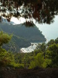 Beautiful bay. View of Skiathos coastline and nature (Skiathos - Greek island in the Aegean sea Royalty Free Stock Images
