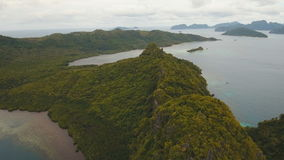 The beautiful bay aerial view. Tropical islands. stock footage