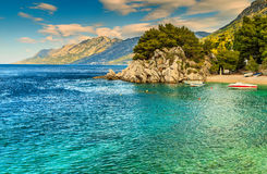 Beautiful bay and beach with motorboats,Brela,Dalmatia region,Croatia,Europe Stock Photo