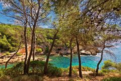Beautiful bay beach turquoise sea water.Mallorca island. Spain Mediterranean Sea, Balearic Islands Royalty Free Stock Photo