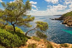 Beautiful bay beach turquoise sea water.Mallorca island. Spain Mediterranean Sea, Balearic Islands Royalty Free Stock Photography