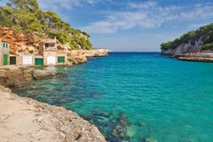 Beautiful bay beach turquoise sea water.Mallorca island. Majorca Cala Llombards Santanyi beach in Mallorca, island, Spain Mediterranean Sea, Balearic Islands Stock Photo