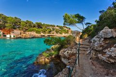 Beautiful bay beach turquoise sea water.Mallorca island. Spain Mediterranean Sea, Balearic Islands Stock Photo