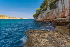 Beautiful bay beach turquoise sea water.Mallorca island. Spain Mediterranean Sea, Balearic Islands Stock Photography
