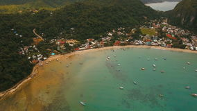 The beautiful bay with boats. Aerial view. stock footage