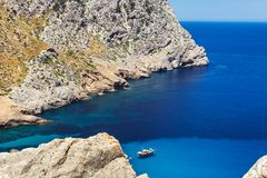 Beautiful bay of Cala Figuera with turquoise water and yacht in Mallorca. Spain Stock Photos