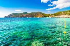 Beautiful bay of Camp de Mar Majorca Spain Mediterranean Sea. Beautiful view of bay landscape in Camp de Mar on Mallorca island, Spain Mediterranean Sea Stock Photo
