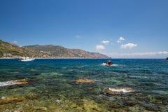 The beautiful bay and coast of Taormina in Sicily stock photography