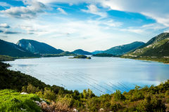 Beautiful bay in Croatia on a cloudy day. With calm sea near city Ston Stock Image