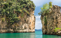 Beautiful Bay in Hong Island - Krabi Province, Thailand. Detail of rocks in the beautiful bay in Hong Island in the sea of Krabi province, Thailand Royalty Free Stock Images