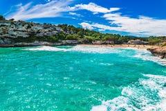 Seascape at beach seaside on Mallorca island, Spain. Beautiful bay on Mallorca island, beach Cala Romantica, s`estany d`en mas, Spain Balearic islands Stock Image