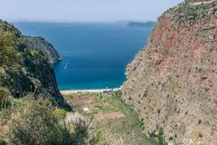 Beautiful bay in mountain landscape with sea view, valley of butterflies, Turkey stock photo