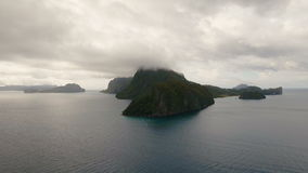The beautiful bay with mountains rocks aerial view. Tropical islands. stock video footage