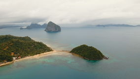 The beautiful bay with mountains rocks aerial view. Tropical islands. stock video