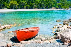 Beautiful bay and old boat Royalty Free Stock Images