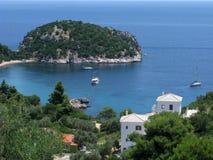 Beautiful bay with peninsula on Skopelos island, Greece Stock Photo