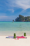 Beautiful bay of Phi Phi island  Thailand. Beach gears at beautiful bay of Phi Phi island at day time, Thailand Royalty Free Stock Photos