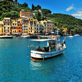 The beautiful bay of Portofino fishing village,luxury harbor Royalty Free Stock Photos