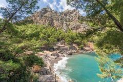 Beautiful bay in Sa Calobra in Mallorca stock photos