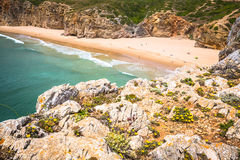 Beautiful bay and sandy beach of Praia do Beliche near Cabo Sao Stock Images