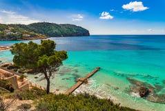 Beautiful bay seaside of Camp de Mar, Mallorca Spain. Beautiful island scenery, coast bay of Camp de Mar on Majorca, Spain Balearic islands Royalty Free Stock Photos