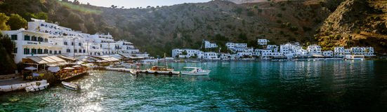 Beautiful bay. The village Loutro, Chania region of Crete. Royalty Free Stock Photos
