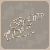 Beautiful be my valentine's day calligraphy colorful Royalty Free Stock Photos
