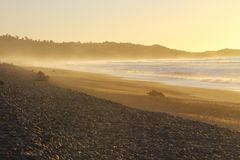 Beautiful beach. Amazing sunset on the beach in Westland National Park, South Island, New Zealand Royalty Free Stock Photography