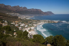 Beautiful beach from above. Clifton beach, Cape Town, South Africa with the Twelve Apostles in the background Stock Photography
