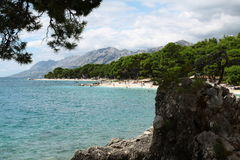 Beautiful beach. With amazing mountains in summer Royalty Free Stock Images