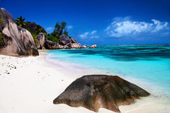 Beautiful beach Anse source d'Argent Stock Image