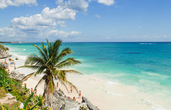 Beautiful beach in the archaeological museum, Tulum, Mexico, Caribbean Sea, Riviera Maya Royalty Free Stock Images