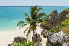 Beautiful beach in the archaeological museum, Tulum, Mexico, Caribbean Sea, Riviera Maya Royalty Free Stock Photography