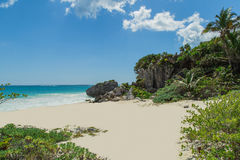 Beautiful beach in the archaeological museum, Tulum, Mexico, Caribbean Sea, Riviera Maya Stock Photos