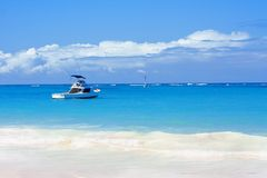 Beautiful beach, atlantic ocean and boat Stock Photo