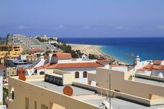 Beautiful beach on the Atlantic Ocean on Fuerteventura in the vi Royalty Free Stock Images