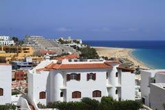 Beautiful beach on the Atlantic Ocean on Fuerteventura in the vi Stock Photography