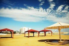 Beautiful beach with awnings Stock Photo