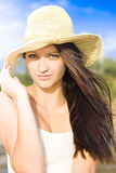 Beautiful Beach Babe With Long Brunette Hair Stock Image
